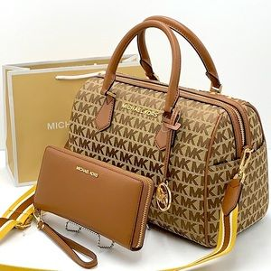 MICHAEL KORS BEDFORD LARGE DUFFLE SATCHEL & LARGE CONTINENTAL WALLET LUGGAGE